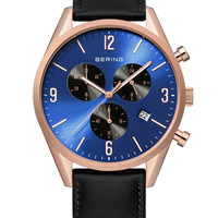 BERING Time Classic 10542-567 Chronograph Rose Gold & Blue