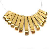 13 pc. Metallic Gold Hematite Graduated Bead Set: Collar Fan Beads 48mm B103