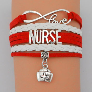 Infinity Love Nurse Bracelet- Custom Red with White Velvet Leather Multilayer