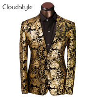 Luxury Men Suit Golden Floral Pattern Suit Jacket Men Fit Prom Suits Tuxedo Brand Wedding Party Blazer Jacket
