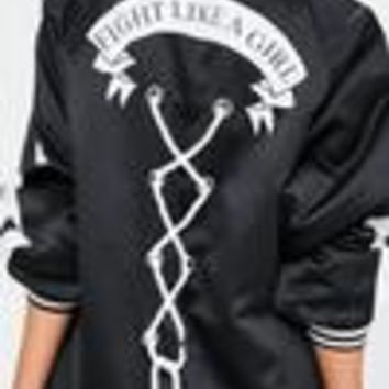Missguided - Black Satin Back Slogan Bomber Jacket