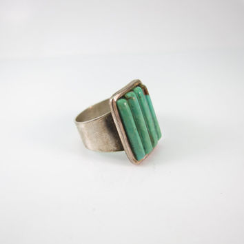 Navajo Ring, Sterling Silver Vintage Turquoise Ring, Native American Ring, Gift for Her, Vintage Turquoise Ring Size 8