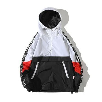 Windbreaker Pullover Jackets Men Patchwork Color Hooded Hip Hop Kanye West Summer Jackets Men Streetwear 5xl Mens Clothing 60J28