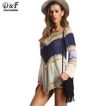Woman Boho Summer Tops Female Casual New Arrival Korean 2016 Shirt Colour-block Hollow Out Long Sleeve Crochet Loose Blouse