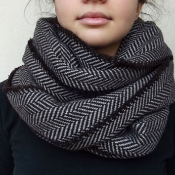 Super Warm Infinity Scarf Wool Blend Brown & Beige - Herringbone Winter Fashion-Neck Warmer- Cowl