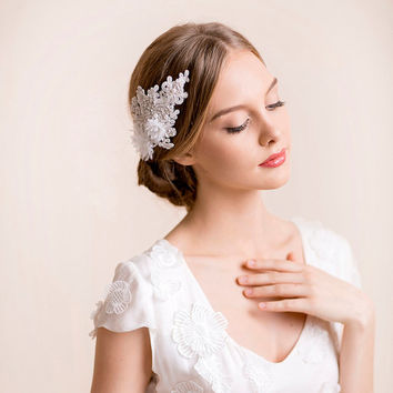 Bridal Hair Piece of Lace in Silver - Lace Hair Piece with Silk Flowers - Wedding Hair Piece - Bridal Hair Accessories