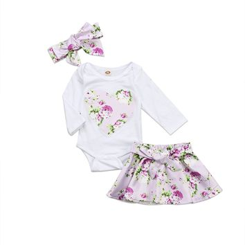 Baby Clothing Newborn Baby Girl 3pcs Clothes Love Heart Romper Jumpsuit + Floral Skirt +Headband Outfit Set