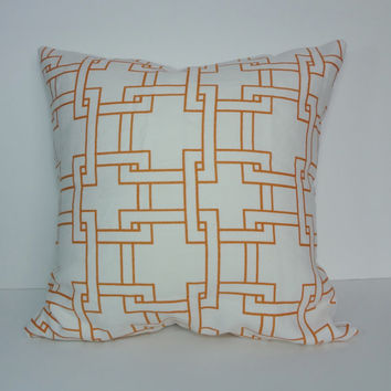 Orange & White Geometric Thom Filicia Pillow Cover, Throw Trellis Pillow Cushion, Kravet City Pillow Cover, 20 x 20