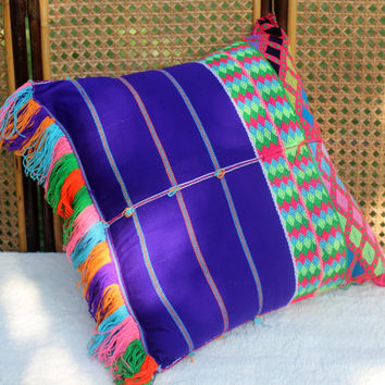 XL Bohemian Style Floor Pillow / Cushion Cover in Ethnic Karen Woven Cotton Colorful Fringe