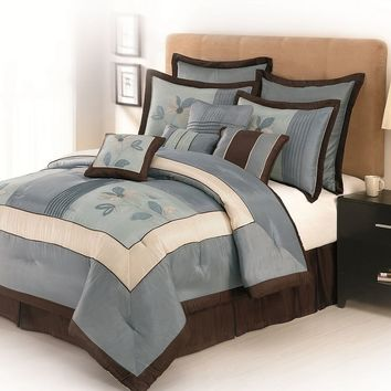 Samantha Floral 10-pc. Comforter Set - Queen (Blue)