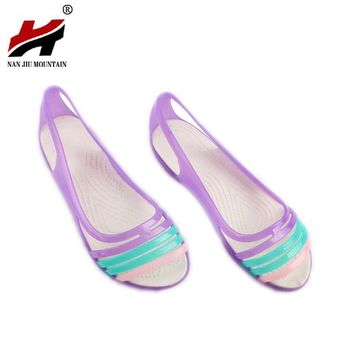 Rainbow Jelly Shoes Women Flats Sandalias Woman Sandals Summer New Candy Color Peep To
