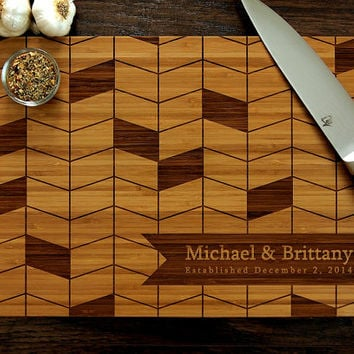 Personalized Cutting Board, Wedding Gift, Custom Engraved, Geometric Pattern, Monogram, Christmas Gift, Anniversary Gift, Bridal Shower Gift