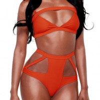 Orange Cut Out High-Waisted Bikini