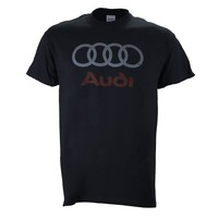 Audi Distressed Logo on a Black T Shirt