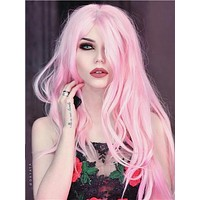 Long Pure Pink Cute Princess Straight Synthetic Lace Front Wig