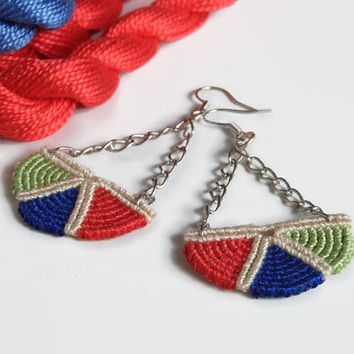 tricolor macrame earrings, half circle chandelier dangle earrings from cotton and chain, industrial fashion jewelry for her