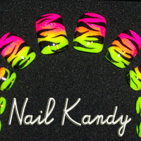 Nails Ombre Neon Zebra by NailKandy on Etsy
