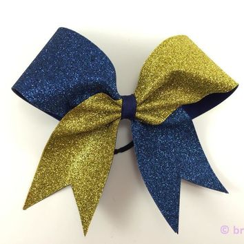 Navy and gold glitter bow.
