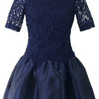 Blossom Blue Crochet Panel Dress