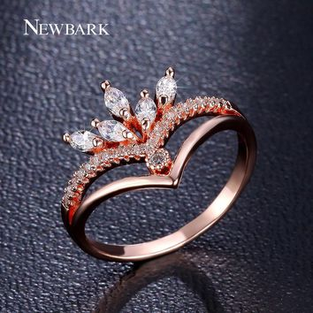 NEWBARK Gorgeous Crown Ring Engagement Rings For Women 5pcs Marquise Cut CZ Anel Feminino Cocktail Joias