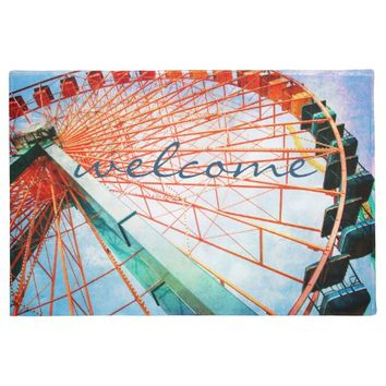 """Welcome"" huge colorful ferris wheel photo doormat"