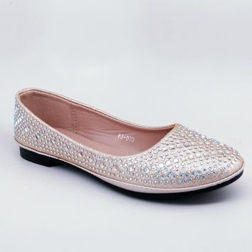 Women's Champagne Flats with Rhinestones