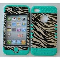 Zebra Snap On and Teal Silicone for Apple IPhone 4/4s Black, Silver