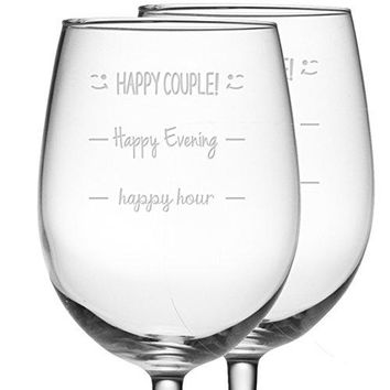Fineware Happy Hour  Happy Evening  Happy Couple Funny Wine Glass Gift  Two 16 oz Etched Glasses