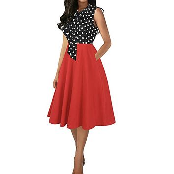 Bow tie Cocktail Swing Dress, Sizes S - 2XL, Red Polka Dots