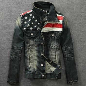 men s american flag denim jacket slim fit long sleeve outwear  number 1