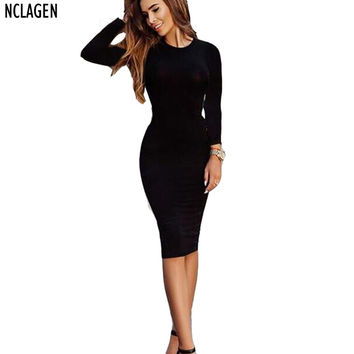 NCLAGEN Women Casual Cotton Dashiki Vestiods Spring Autumn Fall Sheath Office Sexy Slim Bodycon Black Grey Army Green Midi Dress