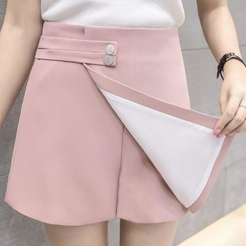New Women Shorts Skirts Spring Fashion High Waist Shorts Female Casual Loose Culottes Black/Pink/White Shorts For Woman