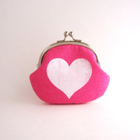 Frame Coin Purse - heart on pink / pink polka dots