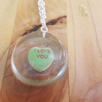 DCCKHD9 Necklace Conversation Heart Pendant Casted Candy in Resin Valentine's Day I Love You G