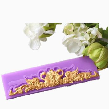 Lace Cake Border Decorative Flowers Strip Silicone Cake Molds Fondant Chocolate Mould Stencil Cupcake Baking Pastry Tools