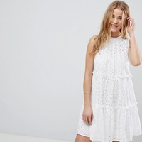 ASOS ULTIMATE Sleeveless Broderie Trapeze Dress at asos.com