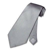 100% SILK Solid Silver Gray Neck Tie. Grey Men's NeckTie.
