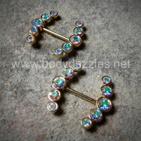 Set Of Sparkling Golden Ray Multi-Gem Nipple Ring Body Jewelry Nipple Rings 14ga Surgical Steel