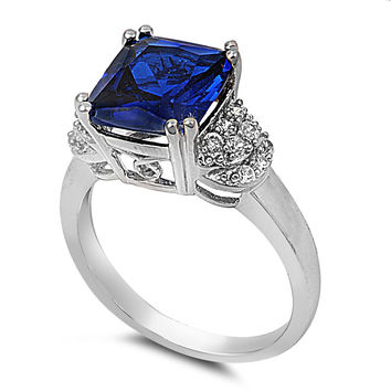 925 Sterling Silver CZ Princess Cut Center Simulated Sapphire Ring 12MM