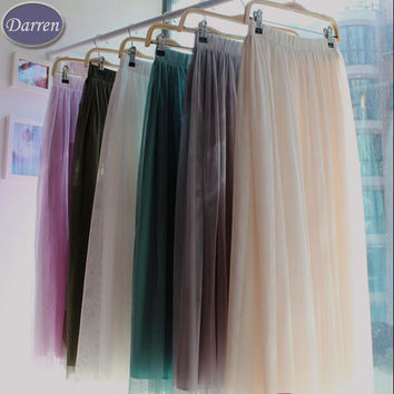 New Fashion 3 layer Long Gauze Voile Maxi Ball Gown Muslim Skirt Women's 18 color Ankle-Length Tulle Skirts Girls Saia Femininas