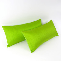 LIme Green Silk Pillow 8 by 17 inch