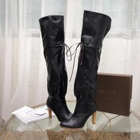GUCCI fashion Women Leather Lace-up Knee Length High boots shoes Black