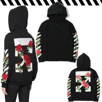 VONL8T Hats Hoodies Stripes Floral Couple Zippers Jacket [85031944204]
