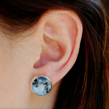 galaxy moon earrings, fake plugs, full moon, constellation jewelry, boho chic