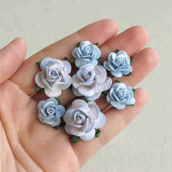 Periwinkle Blue Flower Hair Pins - Set of 5 - Made of muberry paper flowers and U pins