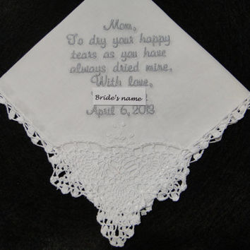 Personalized Mother of the Bride embroidered wedding handkerchief crochet lace corner with gift box