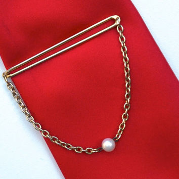 Vintage Tie Bar with Chain & Faux Pearl,SWANK Tie Bar,Vintage Tie Clip,Gold Tone Tie Slide,Wedding Jewelry,Black Tie Event,Mens Formal Wear