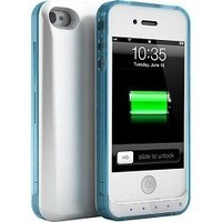 uNu DX Lite iPhone 4S Battery Case / iPhone 4 Battery Case - White / Crystal Blue (MFI Certified, Stylish Bumper Style Case with 1500mAh Built-in Battery Fits All models of Apple iPhone 4S and iPhone 4)