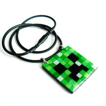 Creeper Necklace, Green Minecraft Necklace, Minecraft Jewelry, Box Square Pendant, Hand Painted Jewelry