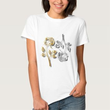Two Golden And Silver Roses With Shadows T-Shirt